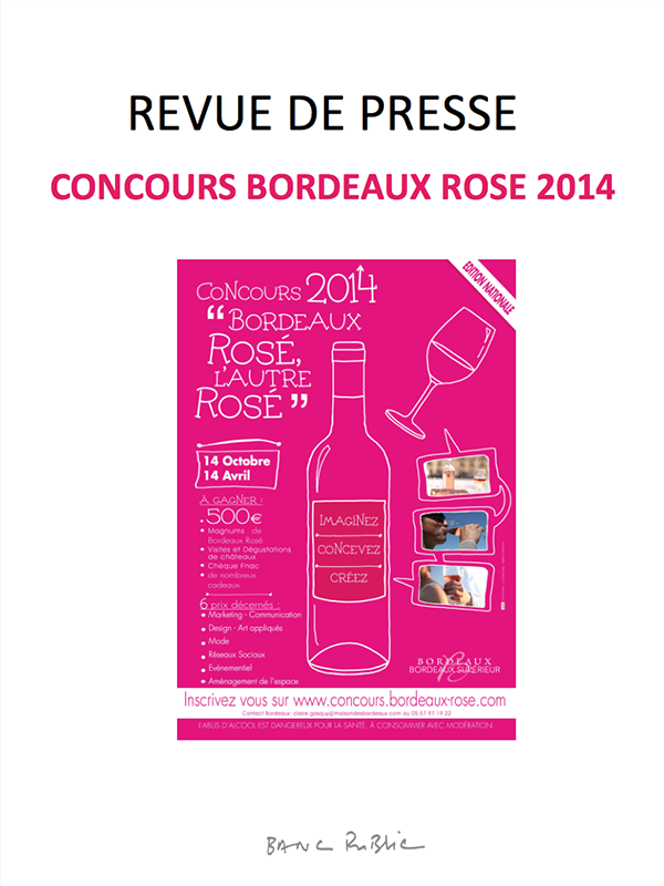 REVUE DE PRESSE CONCOURS BORDEAUX ROSE 2014