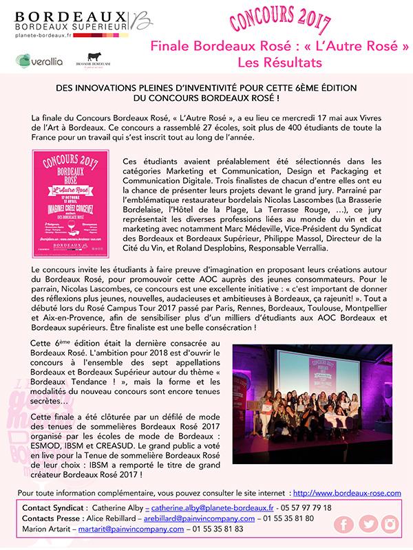 Résultats Finale Concours Bordeaux Rosé